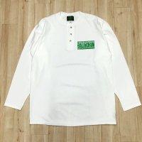Lサイズラスト2枚で終了 FUCKIN' MELLOW CLOTHING / Boxlogo ヘンリーネック 長袖 Tシャツ WHITE