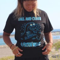 "FUCKIN' MELLOW CLOTHING / ""Big Wave"" designed by stinksigns Tシャツ BLACK"